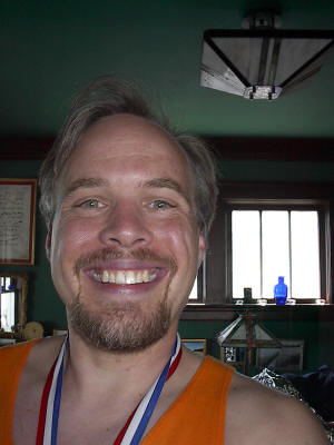 Lane R. Ellis at home after the 2003 Grandma's Marathon in Duluth,  Minnesota