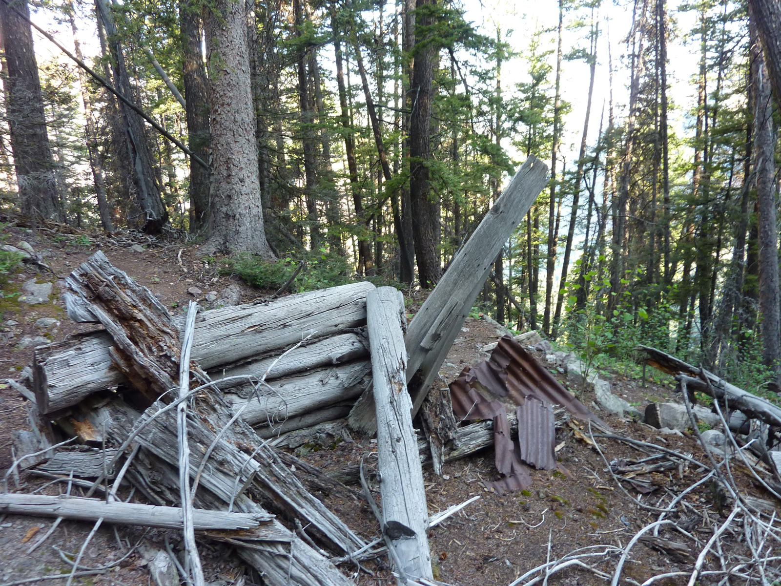 Ruins Of Lower Miner's Cabin Just Above Cliff. Click To Enlarge.